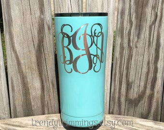 SALE- ready to ship - bJa monogram- 20 oz Ozark Trail™- Etched Blue Powder Coated Stainless Steel Tumbler- FREE shipping