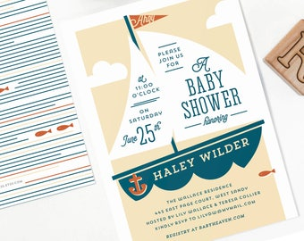 Nautical Baby Shower Invitation for Boy or Girl // ANCHORS AWEIGH