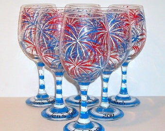 Fireworks, July 4th, Red White & Blue Set of 6 - 21 oz Hand Painted Wine Glasses July Fourth Wedding Party Wedding Glasses Summer Party