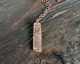Rose gold druzy necklace, unique rose gold necklace