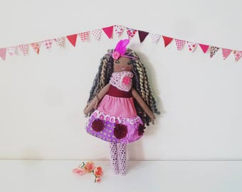 "Miss Calliope Doll, Curly Haired Doll, Cloth Doll, Fabric Doll, Girl Doll, 17"" Doll, Rag Doll, Soft Toy, Heirloom Doll"