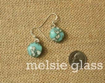 Speckled Robin dangly glass earrings - turquoise glass dangly earrings with white glass dots, earrings