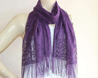 Purple Lace Long Scarf/Infinity scarf