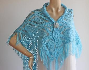 Blue Bridal Shawl/Winter Wedding, Crochet Shawl,Bridal Cover Up,Wedding Shawl-Triangle Shawl-Lace Shawl-Lace Winter Shawl