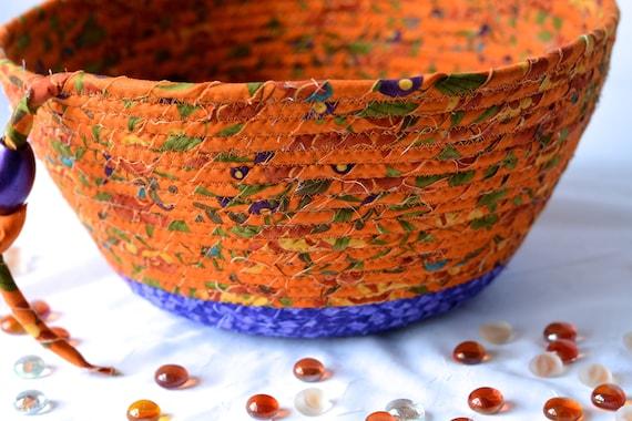 Lovely Fall Basket, Handmade Halloween Basket, Tan and Purple Fabric Bowl, Fall Decoration, Autumn Decorative Basket