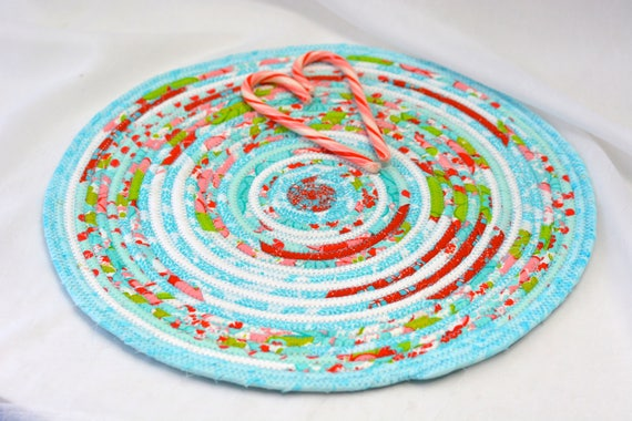 """Turquoise Place Mat, 14"""" Quilted Table Mat, Handmade Aqua and Red Trivet, Shabby Chic Table Mat, Coiled Aqua Hot Pad, Lovely Mug Rug"""