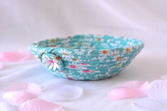 Spring Floral Bowl, Paperclip Basket, Handmade Candy Dish, Handmade Key Basket, Ring Holder Bowl, Teal Desk Accessory, Artisan Gift Basket