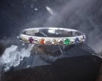 Rainbow Wedding Band Women White Gold Wedding Band Rainbow Wedding Bands Women LGBTQ LGBT Wedding Band 14K Gold Rings Sapphire Rainbow Ring