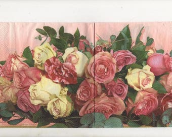 3289 lot 3 red roses paper napkins pink and white