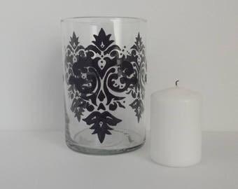 Handpainted Damask design on glass candle jar