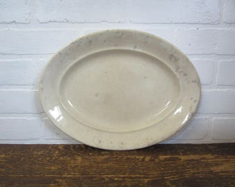 "Vintage Pearl White Granite 13"" Heavily Discolored White Oval Ironstone Serving Platter"