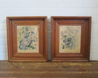 Set of Vintage Wood Framed Botanicals Blue Floral Flower Pictures Farmhosue Decor
