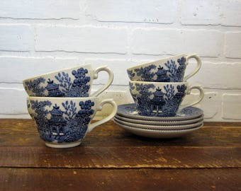 Set of Four Vintage Blue White Transferware Ironstone Cups and Saucers Broadhurst England