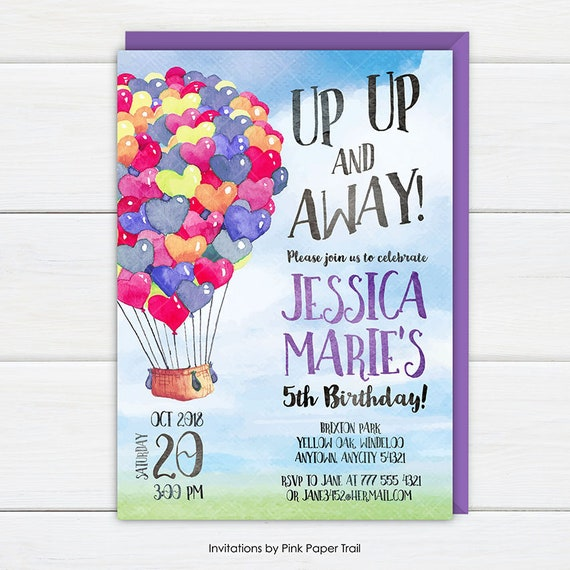 Hot air balloon invitation up up and away girl birthday party il570xn filmwisefo