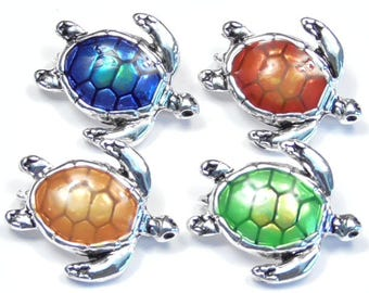 Four 2 Hole Slider Beads, Spacer Beads, Connector Beads, Links Multi Color Enamel Sea Turtle, Loggerhead Antiqued Silver Plated Marine Life