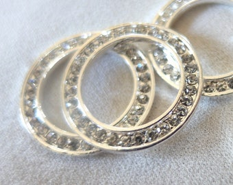 4pc Rhinestone Brite Silver Connector Linking Rings, Large Circle, 27mm diameter, 2mm thick