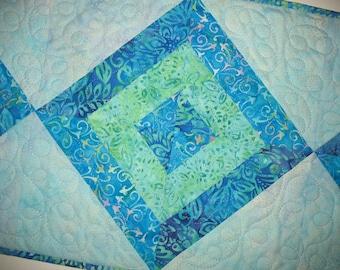 Batik Table Runner, blue, handmade, quilted, green, purple