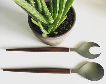 Danish Modern Salad Server Set with Teak Handles and Stainless Utensils - Marked Stainless Japan - Set of Two Salad Servers