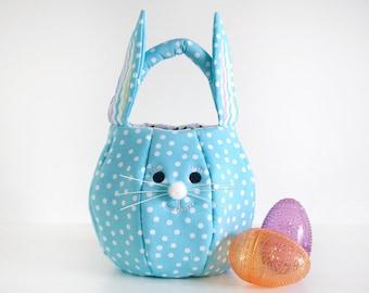 Bunny Easter Basket, Personalized Easter Basket, Fabric Easter Basket Personalized,Easter Tote Bag, Egg Hunt Bag, Easter Bag Ready to Ship