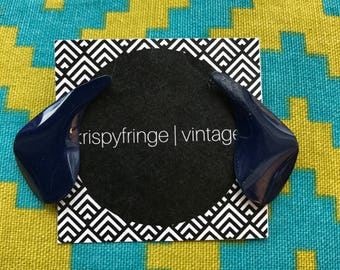 Free Shipping!: 1960's Vintage Asymmetrical Navy Stud Earrings