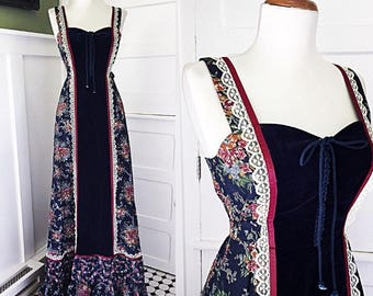 Vintage 70s Gunne Sax Style Dress |1970s Floral Hippie Dress | Prarie Maxi Dress | Corset Lace Up Dress | Sleeveless BoHo Sun Dress | Small