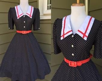 Vintage Sexy 1960s 1970s Black Short Sleeve ATOMIC Polka Dot Full Skirt Day Shirt SAILOR Dress
