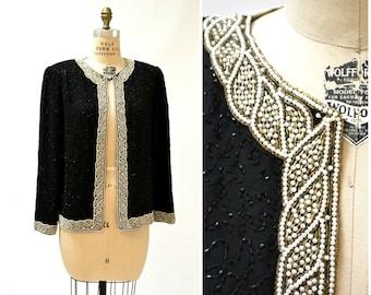 Vintage Black Beaded Jacket Size Large XL By Laurence Kazar 90s Beaded Silk Jacket Pearls Black White Art Deco