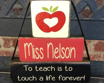 Personalized teacher appreciation blocks-To teach is to touch a life forever