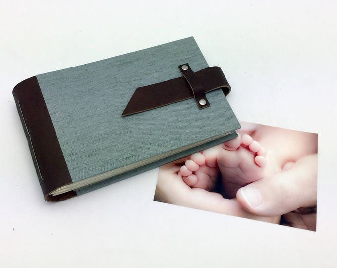 Featured listing image: Mini Photo Album - Leather and Steel Gray Canvas - In stock for 4x6 photos
