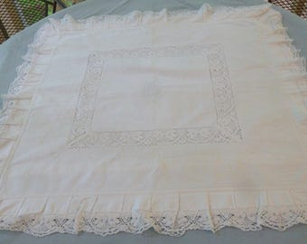 Victorian Pillow Sham with HS Monogram - Lace and Buttonhole Embroidery - White on White - 30 x 31  Buttoned Pillow Envelope in the Back - N