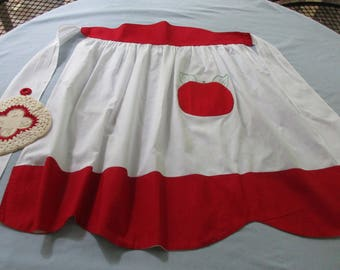 Handmade Vintage Cotton Half Apron - Red and White with Apple Pocket Plus Hand Crocheted Red and White Hot Pad - VC7N