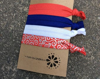 Knotted elastic hair ties - ponytail holder - americana - usa - red, blue, white, red with silver swirls