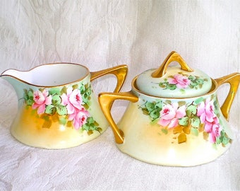 Pink Roses, Art Nouveau, Sugar and Creamer, Yellow, Wedding, Shower, Bavarian, Porcelain, Hand Painted, Antique Roses, Cottage Chic, 1900s