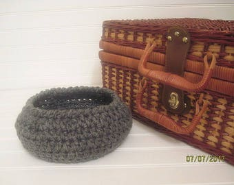 Gray Basket, Dorm Decor, Gray, Home Decor Basket, Minimal Decor, Contemporary Decor, Crochet Basket, Catchall Basket, Catchall Bowl, Trinket