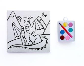 Dragon Art Party Favor - Paintable Dragon Canvas