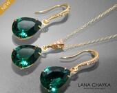 Emerald Green Crystal Jewelry Set Emerald Gold Earrings&Necklace Set Swarovski Emerald Rhinestone Jewelry Set Wedding Green Jewelry Sets
