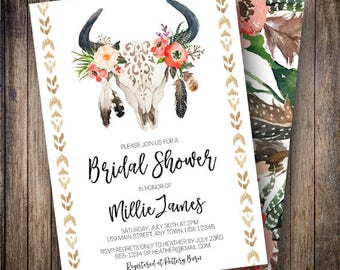 Antler Bridal Shower Invitation, Rustic, Floral Bridal, Watercolor Flowers, Boho Wedding Shower, Bull Skull, Green, Red, 910