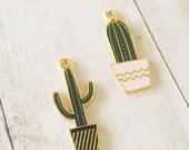 Cactus Charms Cactus Pendants Gold Enamel Charms Gold Charms Western Charms Southwest Charms Set 2
