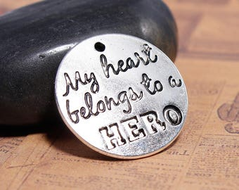 Quote Charm Silver Word Charm Hero Charm Word Pendant Soldier Charm Police Charm Silver Quote Charm My Heart Belongs to a Hero