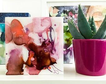 Resin Art Painting. Original Resin Painting. Pink Abstract Artwork. Housewarming Gift under 50. Trendy Pink Art. Watercolor Resin Artwork.