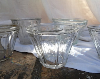 5 Vintage French Jelly Jars Tapering Sides Faceted Glass Group for 'Confiture'