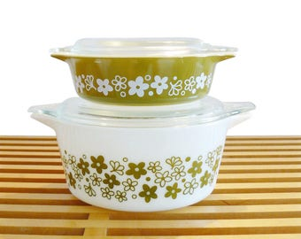 Mid-Century Mod Pyrex Crazy Daisy Spring Blossom Lidded Casserole Refrigerator Dishes