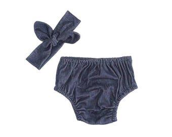 Denim Blue Soft Diaper Cover Set with Matching Knot Bow Headband, Baby Denim Outfit, Cake Smash Set