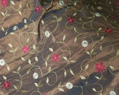 brown embroidered brocade coupon fabric