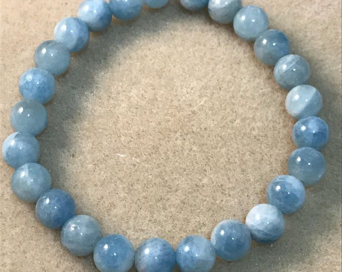 Aquamarine 8mm Round Bead Stretch Bracelet with Sterling Silver Accent
