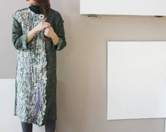 Green Autumn Coat, Jacket, Oversized Coat, Loose Cardigan, Wedding Coat, Felt Coat, Long Jacket, Wrap Cardigan, Ivory Cardigan