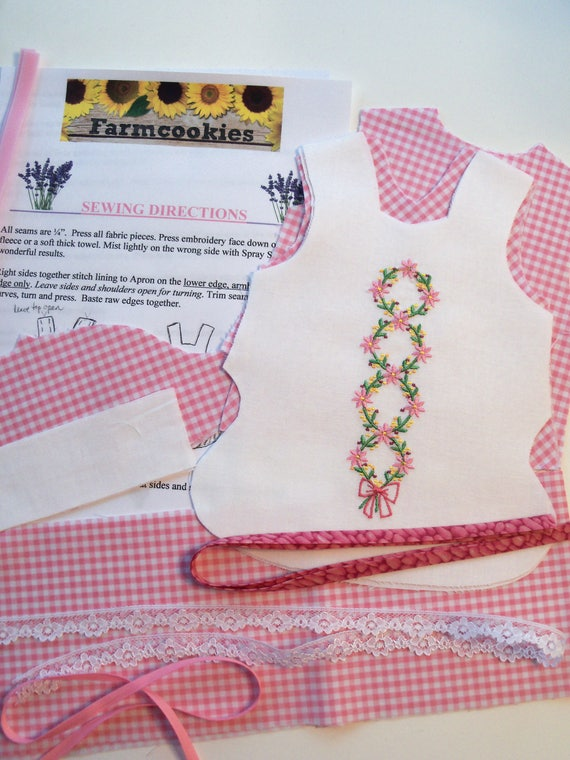 """18"""" Size /COMPLETE SEWING KIT for 18"""" Doll Clothes / Embroidered Spring Dress / Fits Like American Girl Doll Clothes Pattern"""