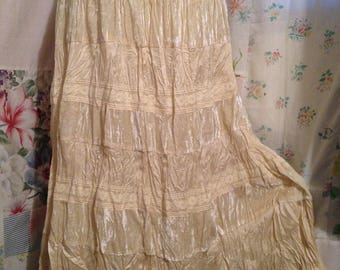 SMALL/MED, Romantic Bohemian Hippie Indie Boho Sheer Cream Color Skirt with Velveteen, Satin, and  Lace