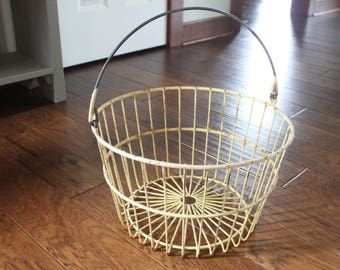 Vintage Yellow Wire Egg Basket - Farmhouse Metal Wire Basket