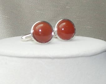 Carnelian cuff links,carnelian and silver cuff link,gemstone cuff link, rust cuff link,orange cuff link,wedding cuff link,grooms cuff link